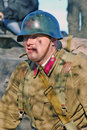 Russian soldier reenactor portrait of a dressed as ww ii on october in borodino moscow region russia the battle he is reenacting Stock Photo