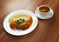 Russian soup and meat cutlet solyanka Royalty Free Stock Images