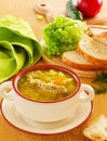 Russian sour cabbage traditional soup Stock Photo