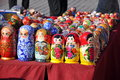 Russian souvenirs of a nested doll Stock Photos