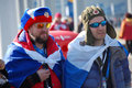 Russian spectators with flags at xxii winter olympic games sochi russia Royalty Free Stock Image