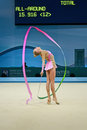 Russian sportsman with ribbon rhythmic gymnastics world championships kiev aug nd on august in kiev ukraine different nations Stock Image