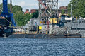 Russian submarine in saint petersburg russia of kilo class being built a shipyard near the harbour of stern view Royalty Free Stock Images