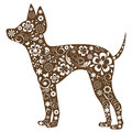 Russian toy terrier with floral ornament decoration Stock Image