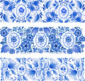 Russian traditional blue ornament in gzhel style vector Royalty Free Stock Photography