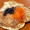 Russian traditional pancakes  with caviar Royalty Free Stock Images