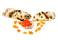 Russian traditional pancakes with  Salmon  caviar Stock Photo