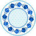 Russian traditional plate in gzhel style national floral pattern on Royalty Free Stock Photography