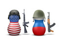 Russian and USA military dolls Royalty Free Stock Photo