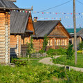 Russian village typical old wooden houses in russia Stock Photos