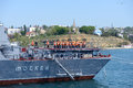 Russian warship in sevastopol bay russia may crew on the deck of moskva anchored the harbor of ukraine on may before the Stock Photos
