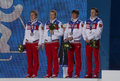 Russian women s biathlon team sochi russia february during x km relay medal ceremony at sochi xxii olympic winter games Royalty Free Stock Photo