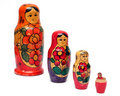 Russian wooden dolls row Royalty Free Stock Photo