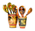 Russian wooden spoons Stock Images