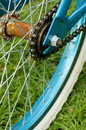 Rusted bicycle hub with chain standing on grass Stock Photos