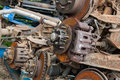 Rusted car brake discs pile of on a scrap yard Stock Images