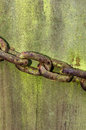 Rusted chain on an old gate post Royalty Free Stock Photo