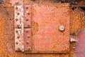 Rusted iron hinge close up red color Royalty Free Stock Photos