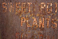Rusted metal background partially visible words sweet potatoe plants for sale Royalty Free Stock Photo