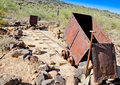 Rusted mine cars abandoned and out rail Royalty Free Stock Photos