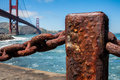 Rusted old chain fence, Golden Gate Bridge Royalty Free Stock Photos