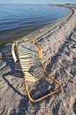 Rusted old lounge chair by the Salton Sea Royalty Free Stock Photography