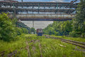 Rusted railway and abandoned carriage beijing capital steel works Stock Image