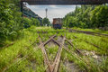 Rusted railway and abandoned carriage in outside Stock Images