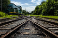 Rusted railway and abandoned locomotive in outside Royalty Free Stock Photos