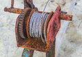 Rusted steel wire rope cable closeup Royalty Free Stock Images