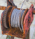 Rusted steel wire rope cable closeup Stock Photos