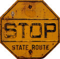 Rusted stop sign yellow old road Royalty Free Stock Photos