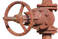 Rusted valve old metal pipe with Stock Image