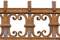 Rusted wrought iron fence on white background Stock Photo
