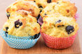Rustic blueberry muffins for a wholesome snack horizontal composition Royalty Free Stock Image