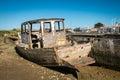 Rustic boats on a ship graveyards noirmoutier france april noirmoutier france Royalty Free Stock Photos