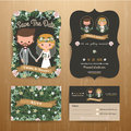 Rustic bohemian cartoon couple wedding card template set