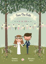 Rustic bohemian cartoon couple wedding invitation card in the fo