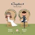 Rustic bohemian cartoon couple wedding invitation card