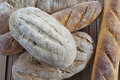 Rustic bread loaves and baguettes selection of handmade breads Stock Photography