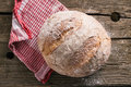 Rustic bread traditional on old wooden table Stock Photos