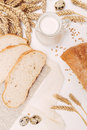 Rustic breakfast with milk and rye bread Royalty Free Stock Photo