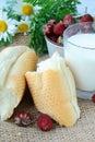 Rustic breakfast, white bread Royalty Free Stock Photo