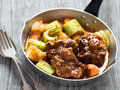 Rustic british oxtail stew Royalty Free Stock Photo