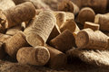 Rustic brown wine corks in a large group Stock Image