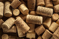 Rustic brown wine corks in a large group Royalty Free Stock Images
