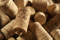 Rustic brown wine corks in a large group Royalty Free Stock Photos