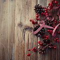 Rustic christmas decoration on wooden surface Royalty Free Stock Photography