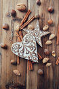 Rustic christmas decorations and ingredients for a christmas cake Stock Photos