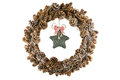 Rustic christmas vintage wreath with red ribbon bow on stars Royalty Free Stock Image